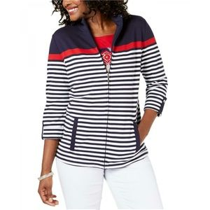 NWT Karen Scott Petite Striped Jacket PL Navy